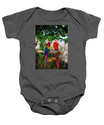 Colorful Parrots Baby Onesie