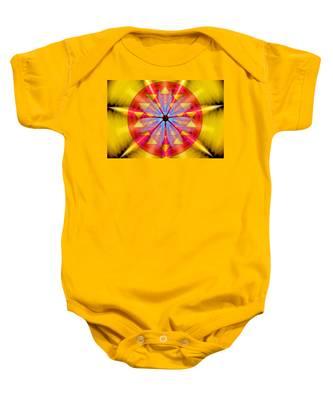 Baby Onesie featuring the drawing Geo-cosmic Sri Yantra by Derek Gedney