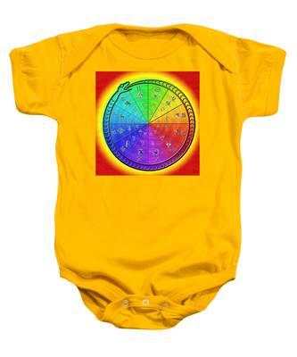 Baby Onesie featuring the drawing Ouroboros Alchemical Zodiac by Derek Gedney