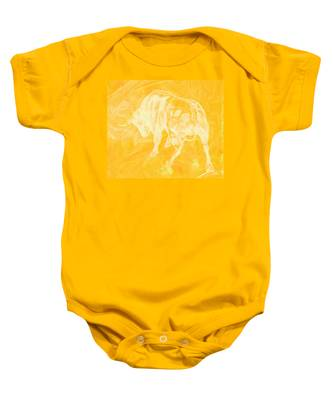 Yellow Bull Negative Baby Onesie
