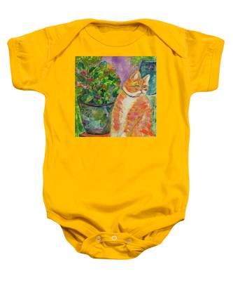 Ginger With Flowers Baby Onesie