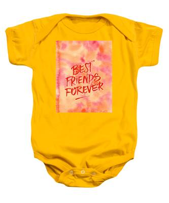 Best Friends Forever Handpainted Abstract Watercolor Pink Orange Baby Onesie