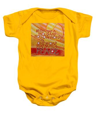 Inspirational Saying Peace Baby Onesie