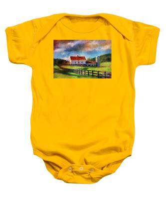Red Roof Barn Baby Onesie