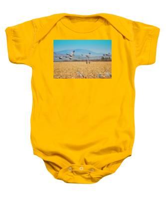 Sandhill Cranes In Flight Baby Onesie