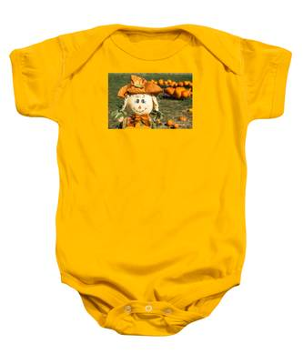 Smiling Scarecrow With Pumpkins Baby Onesie