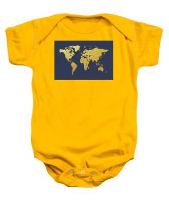 World Map Gold Foil Baby Onesie