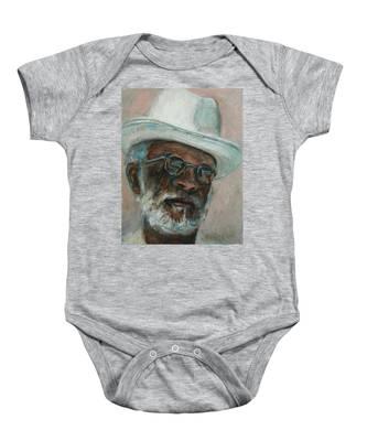 Gray Beard Under White Hat Baby Onesie