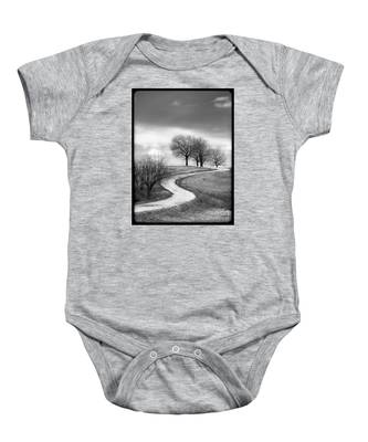 A Winding Country Road In Black And White Baby Onesie