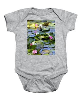 Colorful Water Lily Pond Baby Onesie