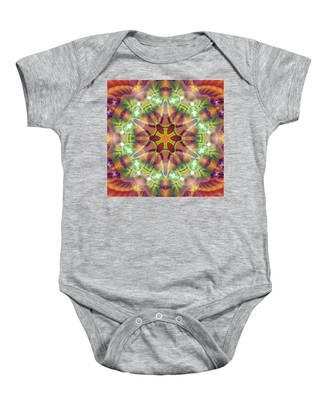 Baby Onesie featuring the digital art Cosmic Spiral Kaleidoscope 42 by Derek Gedney