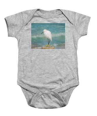 One With Nature - Snowy Egret Baby Onesie
