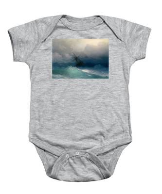 Ship On Stormy Seas Baby Onesie