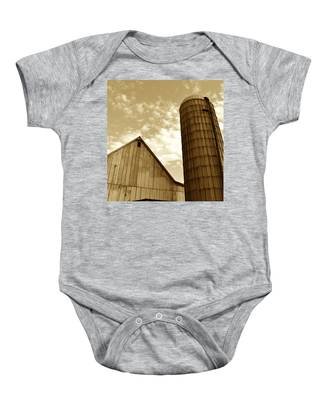 Barn And Silo In Sepia Baby Onesie