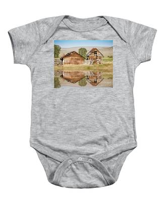 Reflection Of An Old Building Baby Onesie