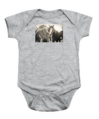 A Girl And Horses In The Sun Sepia Baby Onesie