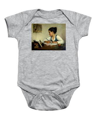 A Girl Writing. The Pet Goldfinch Baby Onesie