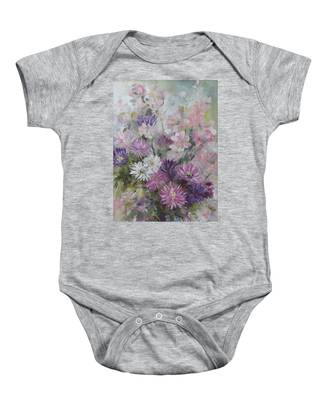 Asters And Stocks Baby Onesie