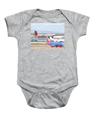 Baby Onesie featuring the photograph B-17 Bomber by Dart and Suze Humeston