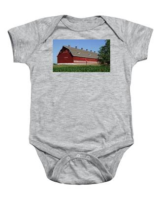 Big Red Barn In Spring Baby Onesie