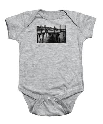 Black And White On The Pier Baby Onesie