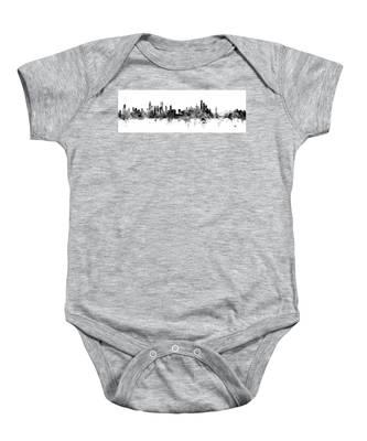 Chicago And New York City Skylines Mashup Baby Onesie