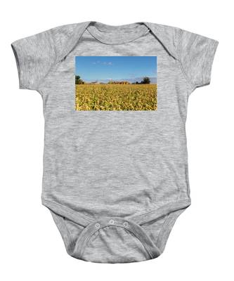 Baby Onesie featuring the photograph Cornfiled by Dart and Suze Humeston