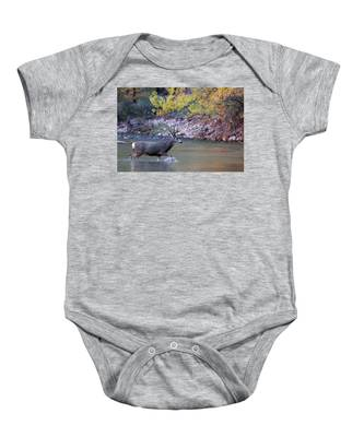 Deer Crossing River Baby Onesie