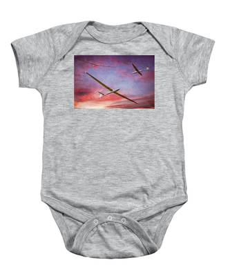 Gliders Over The Devil's Dyke At Sunset Baby Onesie
