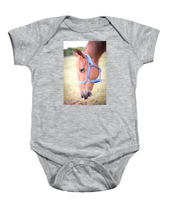 Horse Eating Grass Baby Onesie