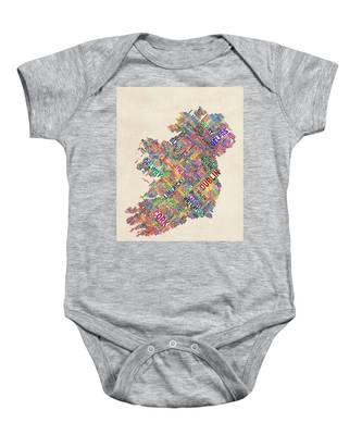 Ireland Eire City Text Map Derry Version Baby Onesie