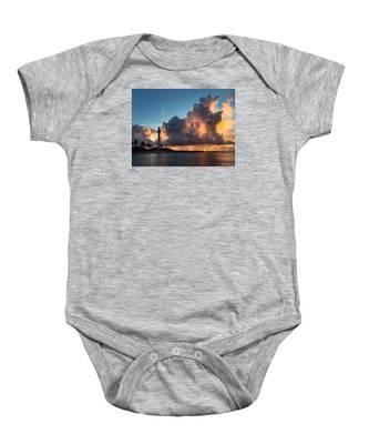 Lighthouse In Orange Baby Onesie