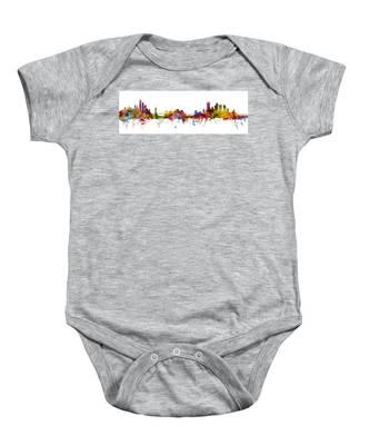 New York And Pittsburgh Skyline Mashup Baby Onesie