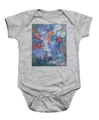 Poppies, Wisteria And Marguerites Baby Onesie