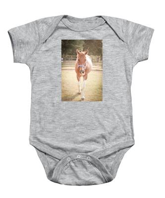 Portrait Of A Light Brown Horse In A Pasture Baby Onesie