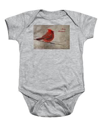 Red Bird In Snow Christmas Card Baby Onesie