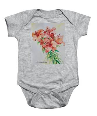 Red Lilies Baby Onesie