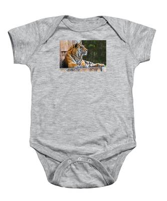Baby Onesie featuring the photograph Relaxing Tiger by Dart and Suze Humeston
