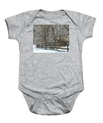 Winter Fence Baby Onesie