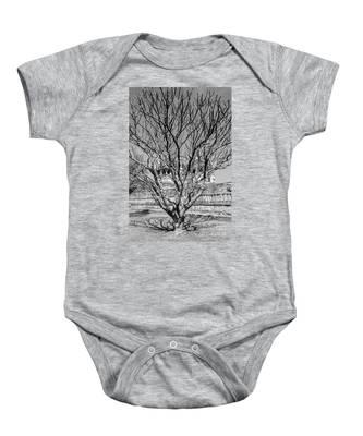 Tree And Temple Baby Onesie