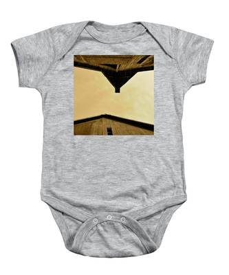 Two Barns In Sepia Baby Onesie