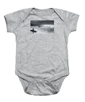 Waiting For The Surf By Mike-hope Baby Onesie