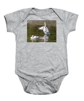 A Pair Of Swans Baby Onesie