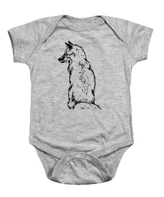 Fox On Burlap  Baby Onesie