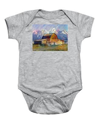 Old Wyoming Barn Baby Onesie