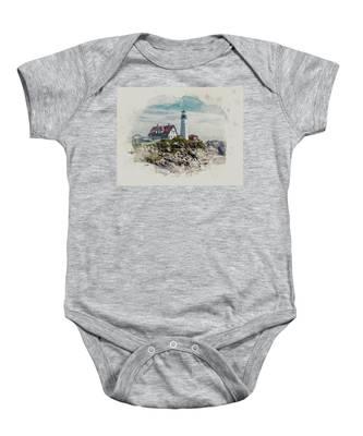 Portland Head Lighthouse Cape Elizabeth Maine Baby Onesie