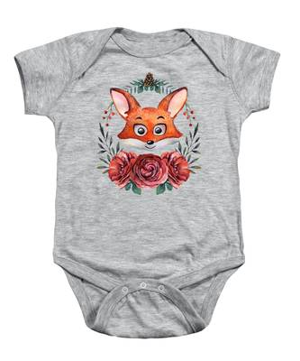 9-12M Baby Bodysuit Dancing Red Fox - Deep Red Print on White Onesie