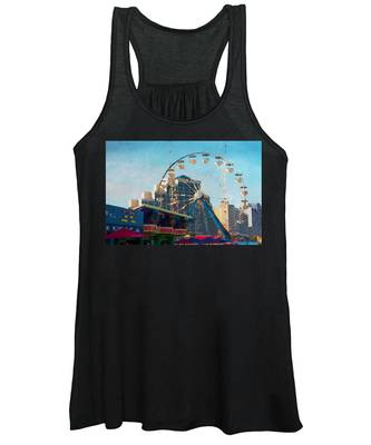 Women's Tank Top featuring the photograph Boardwalk Ferris  by Alice Gipson