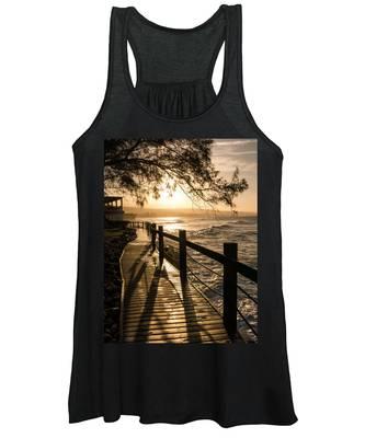 Sunset Over Ocean Walkway Women's Tank Top