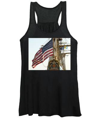 Women's Tank Top featuring the photograph Kalmar Nyckel American Flag by Alice Gipson